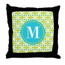 Monogram Cross Pattern Lime and Turquoise Throw Pi
