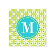 Monogram Cross Pattern Lime and Turquoise Sticker