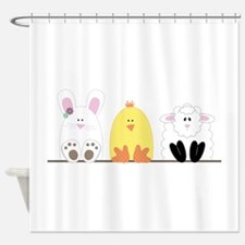 Easter Animal Border Shower Curtain