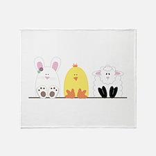 Easter Animal Border Throw Blanket