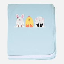 Easter Animal Border baby blanket
