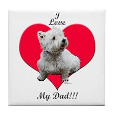 Sitting Westie Loves Dad Tile Coaster