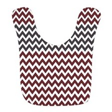 Burgundy and Charcoal Gray Chevron Stripes Bib