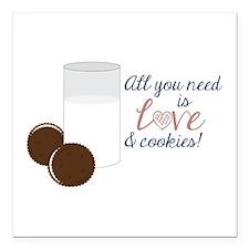 "Love & Cookies Square Car Magnet 3"" x 3"""