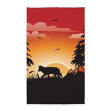 The wolf 3'x5' Area Rug