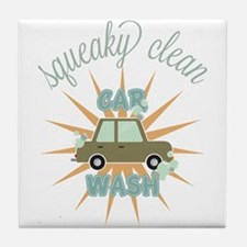 Squeaky clean car wash Tile Coaster
