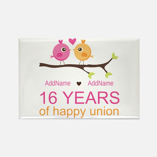 16th Custom Wedding Anniversary Rectangle Magnet