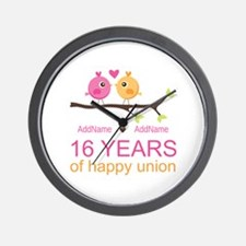 16th Custom Wedding Anniversary Wall Clock
