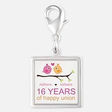 16th Custom Wedding Anniversa Silver Square Charm