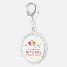16th Custom Wedding Anniversary Silver Oval Charm