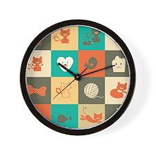 Retro Cats Wall Clock
