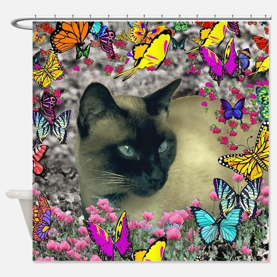 Stella Cat Butterflies Shower Curtain