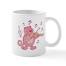 Pink Cat with Violin Mugs