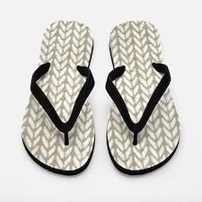 White Knit Graphic Pattern Flip Flops