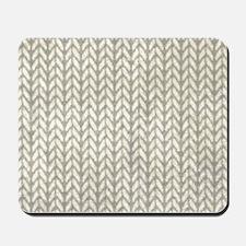 White Knit Graphic Pattern Mousepad