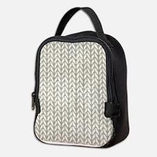 White Knit Graphic Pattern Neoprene Lunch Bag