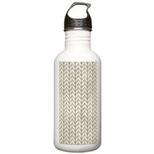 White Knit Graphic Pattern Water Bottle