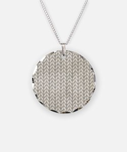 White Knit Graphic Pattern Necklace