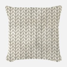 White Knit Graphic Pattern Woven Throw Pillow
