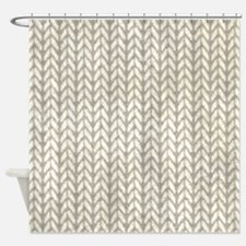 White Knit Graphic Pattern Shower Curtain