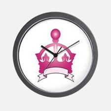 Pink Crown Caption Wall Clock