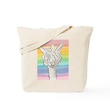 Rainbow Alpaca (white) Tote Bag