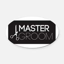 Cute Dog grooming Oval Car Magnet