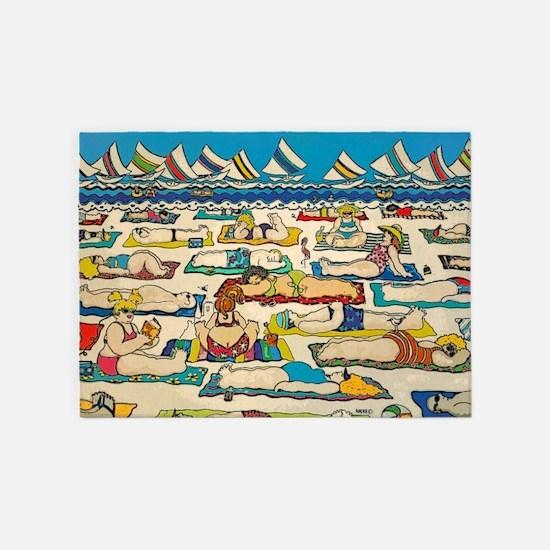 Whimsical Beach People Sailboats 5'x7'area Rug