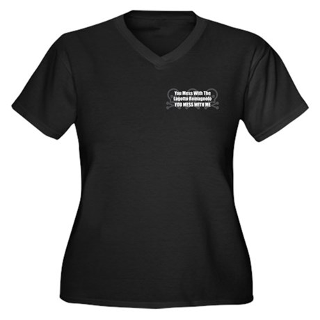Mess With Lagotto Women's Plus Size V-Neck Dark T-