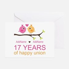 17th Anniversary Two Birds Love Greeting Card