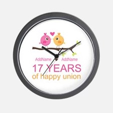 17th Anniversary Two Birds Love Wall Clock