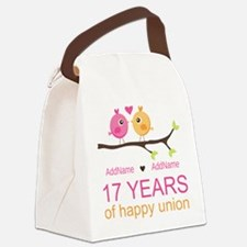 17th Anniversary Two Birds Love Canvas Lunch Bag