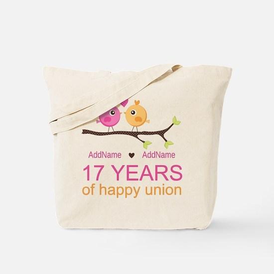 17th Anniversary Two Birds Love Tote Bag
