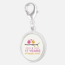 17th Anniversary Two Birds Love Silver Oval Charm