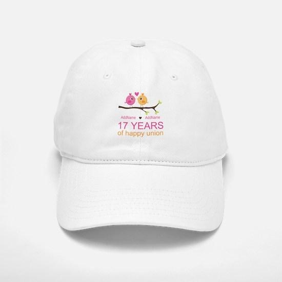 17th Anniversary Two Birds Love Baseball Baseball Cap