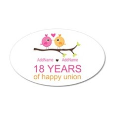 18th Anniversary Persnalized 20x12 Oval Wall Decal