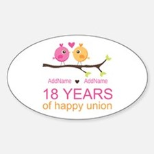 18th Anniversary Persnalized Sticker (Oval)