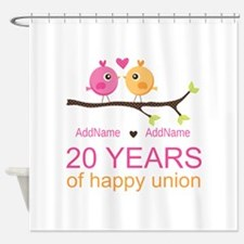Personalized 20th Anniversary Shower Curtain