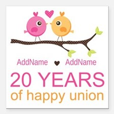 """Personalized 20th Annive Square Car Magnet 3"""" x 3"""""""