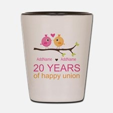 Personalized 20th Anniversary Shot Glass