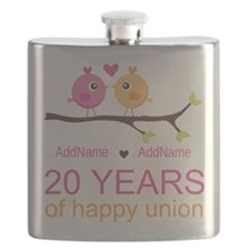 Personalized 20th Anniversary Flask