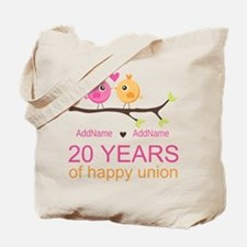 Personalized 20th Anniversary Tote Bag