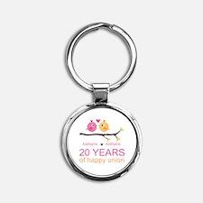 Personalized 20th Anniversary Round Keychain