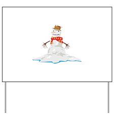 Melting Snowman Winter Yard Sign