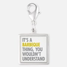 Its A Barbeque Thing Silver Square Charm