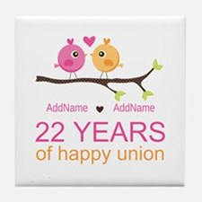 22nd Wedding Anniversary Personalized Tile Coaster