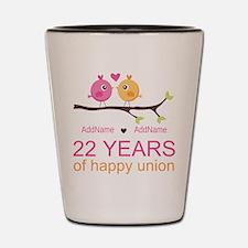22nd Wedding Anniversary Personalized Shot Glass