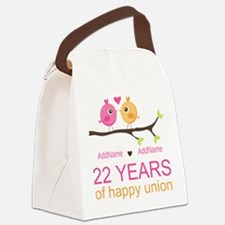 22nd Wedding Anniversary Personal Canvas Lunch Bag