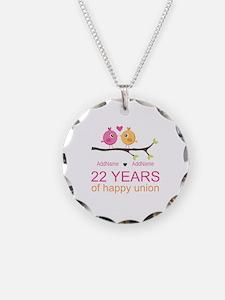 22nd Wedding Anniversary Per Necklace