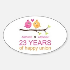 23 Years Anniversary Personalized Sticker (Oval)